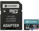 Карта памяти Platinet PMMSDX64UI 64GB + адаптер в интернет магазине