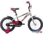Детский велосипед Novatrack Lumen 16 (серебристый/красный, 2019)