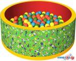 Сухой бассейн Romana Веселая полянка ДМФ-МК-02.51.01 (150 шариков, зеленый/красный)