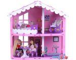 Кукольный домик Krasatoys Загородный дом Анжелика с мебелью 000255 (розовый/сиреневый)