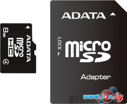 Карта памяти A-Data microSDHC (Class4) 8GB + SD адаптер (AUSDH8GCL4-RA1) в Могилёве