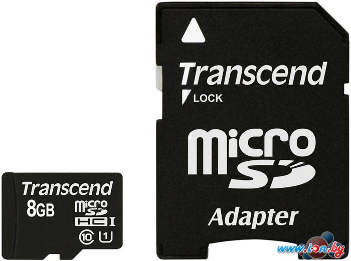 Карта памяти Transcend microSDHC Class 10 UHS-I 8GB + адаптер (TS8GUSDU1) в Могилёве