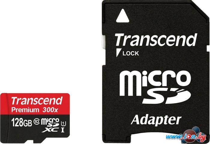 Карта памяти Transcend microSDXC UHS-I 300x Premium (Class 10) 128GB (TS128GUSDU1) в Могилёве