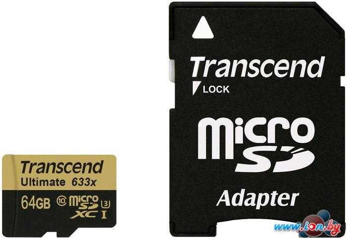 Карта памяти Transcend microSDXC Ultimate 633x UHS-I U3 (Class 10) 64GB (TS64GUSDU3) в Могилёве