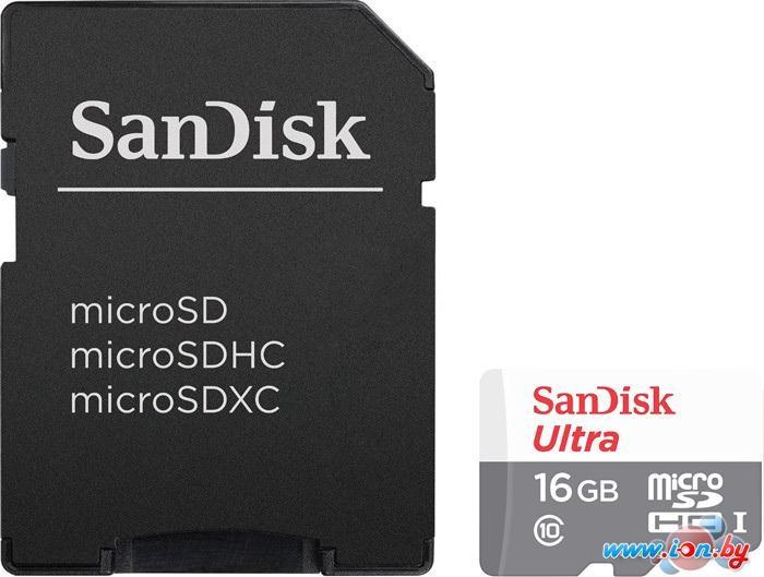 Карта памяти SanDisk Ultra microSDHC 16GB UHS-I/U1 + адаптер [SDSQUNB-016G-GN3MA] в Могилёве