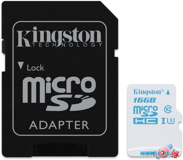 Карта памяти Kingston microSDHC (Class 10) U3 16GB + адаптер [SDCAC/16GB] в Могилёве