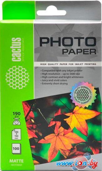 Фотобумага CACTUS Матовая А6 190 г/м2 100 листов (CS-MA6190100) в Могилёве