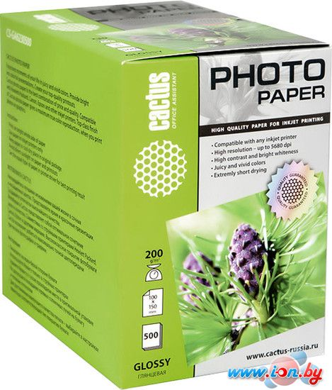 Фотобумага CACTUS Глянцевая 10x15 200 г/кв.м. 500 листов(CS-GA6200500) в Могилёве