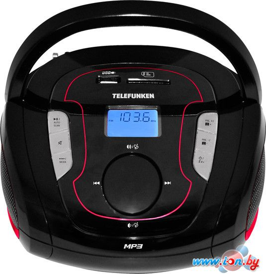Портативная аудиосистема TELEFUNKEN TF-SRP3471B чёрный с красным в Могилёве