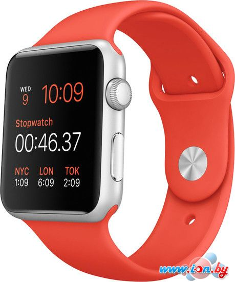 Умные часы Apple Watch Sport 42mm Silver with Orange Sport Band (MLC42) в Могилёве