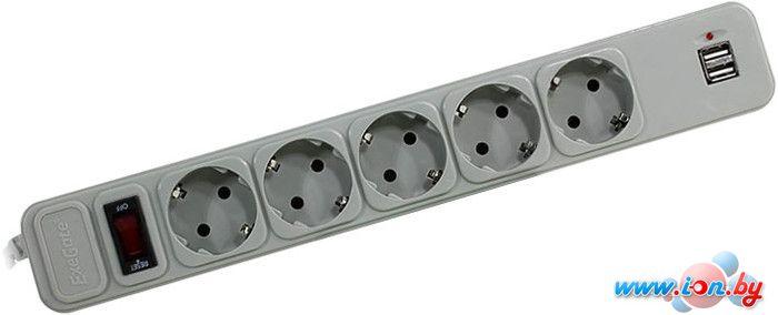 Сетевой фильтр ExeGate 5 розеток, 2 USB, 3 м, серый (SP-5-USB-3G) в Могилёве