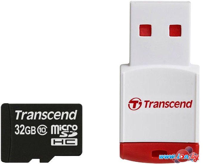 Карта памяти Transcend microSDHC (Class 10) 32GB + карт-ридер P3 [TS32GUSDHC10-P3] в Могилёве