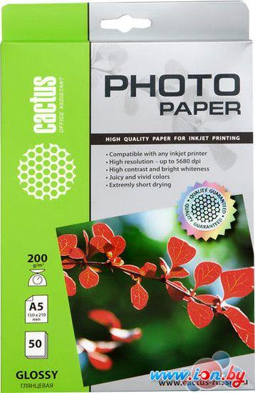 Фотобумага CACTUS Глянцевая A5 200 г/кв.м. 50 листов (CS-GA520050) в Могилёве