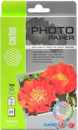 Фотобумага CACTUS Матовая A6 190 г/м2 25 листов [CS-MA619025] в Могилёве