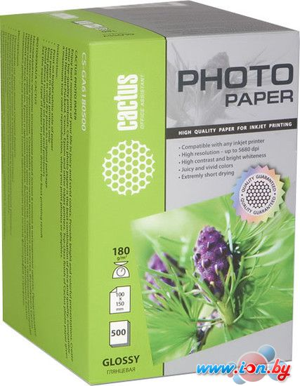 Фотобумага CACTUS Глянцевая A6 180 г/кв.м. 500 листов (CS-GA6180500) в Могилёве