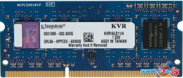 Оперативная память Kingston ValueRAM 4GB DDR3 SO-DIMM PC3-12800 (KVR16LS11/4) в Могилёве