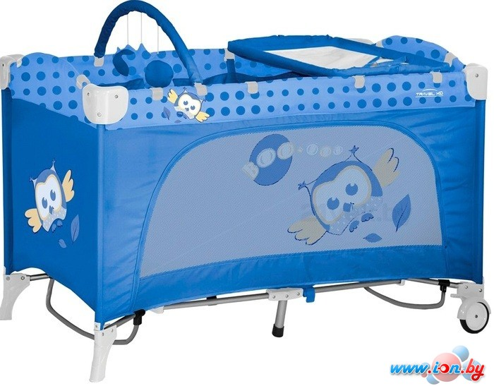 Манеж-кровать Lorelli Travel Kid Rocker Blue Baby Owl [10080231418] в Гомеле